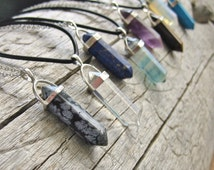 Crystal Point Necklace - Leather Cord, Waxed Cord or Silver Chain - Boho Grunge Necklace, Hippie, Bohemian, Spiritual