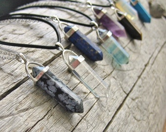 Crystal Point Necklace Grunge Choker - Leather Cord, Waxed Cord or Silver Chain - Boho Necklace, Hippie, Bohemian, Spiritual
