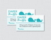 Whale Baby Shower Diaper Raffle Tickets and Diaper Raffle Sign - Printable Aqua Whale Nautical Diaper Raffle Cards, Sign - 0033-A