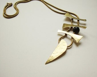 Minimal Geometric Necklace, boho necklace, brass and onyx pendant, Minimal Bohemian necklace, Boho necklace, chain necklace, Boho jewelry