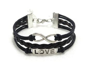 Black Infinity Love Bracelet, Infinity Love Leather Bracelet, Infinity Bracelet, Bohemian Bracelet, Infinity Jewelry, Gift for Her