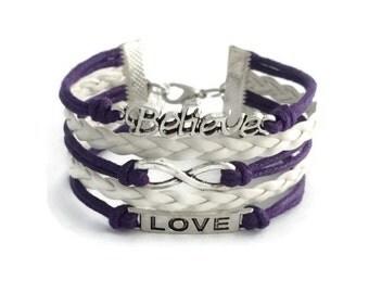 Purple Infinity Bracelet, Infinity Love Bracelet, Leather Bracelet, Infinity Jewelry, Gift for Her, Multilayer Bracelet, Bohemian Bracelet