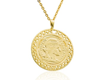 Coin Necklace -Gold filled 14K pendant, coin pendant vintage style pendant