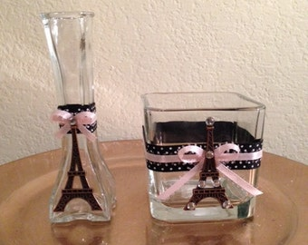 Set of two (2) Eiffel Tower Glass Containers