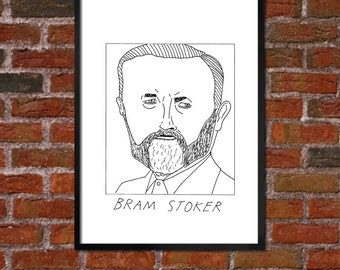 Badly Drawn Bram Stoker - Literary Poster - *** BUY 4, GET A 5th FREE***