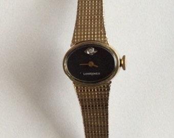 Longines Mechanical Women's Wrist Watch, Authentic Longines Gold Plated Watch, Diamond Longines Watch, Vintage Longines Women's Wrist Watch