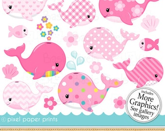 Pink whales clipart- Digital Clip Art - Personal and commercial use