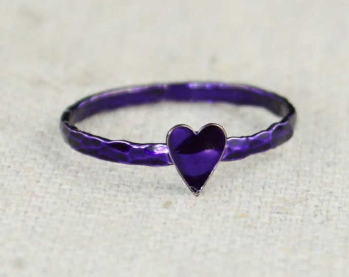 Tiny Purple Heart Ring, Sterling Silver, Purple Ring, Personalized Ring, purple heart,violet Ring, Girl Friend Gift, BFF Ring, Best Friend