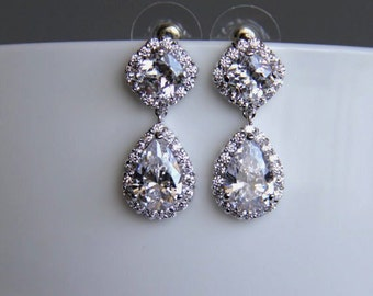 FREE US SHIPPING - Bridal earrings, cz earrings, wedding earrings, bridesmaid earrings, bridal jewelry, wedding jewelry, cz jewelry, dangley