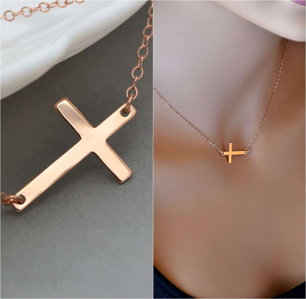 rose gold sideways cross necklace horizontal cross kelly. Black Bedroom Furniture Sets. Home Design Ideas