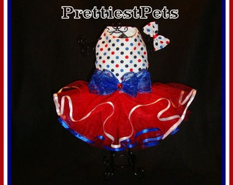 Patriotic 4th of July Dog Dress Tutu Matching Hair Bow Available!  Red White and Blue Dog Dress Polka Dot Dog Dress  Prettiest Pets Designs!