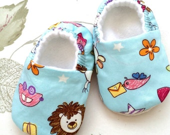 Baby animal print cotton slip on shoes. Soft sole shoes