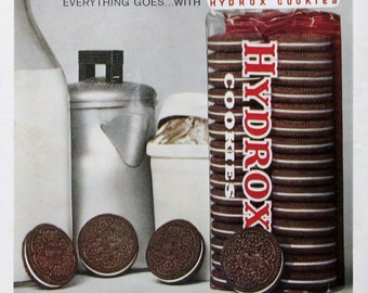 1961 Sunshine Hydrox Cookies Ad - Everything Goes With Hydrox Chocolate Sandwich Cookies