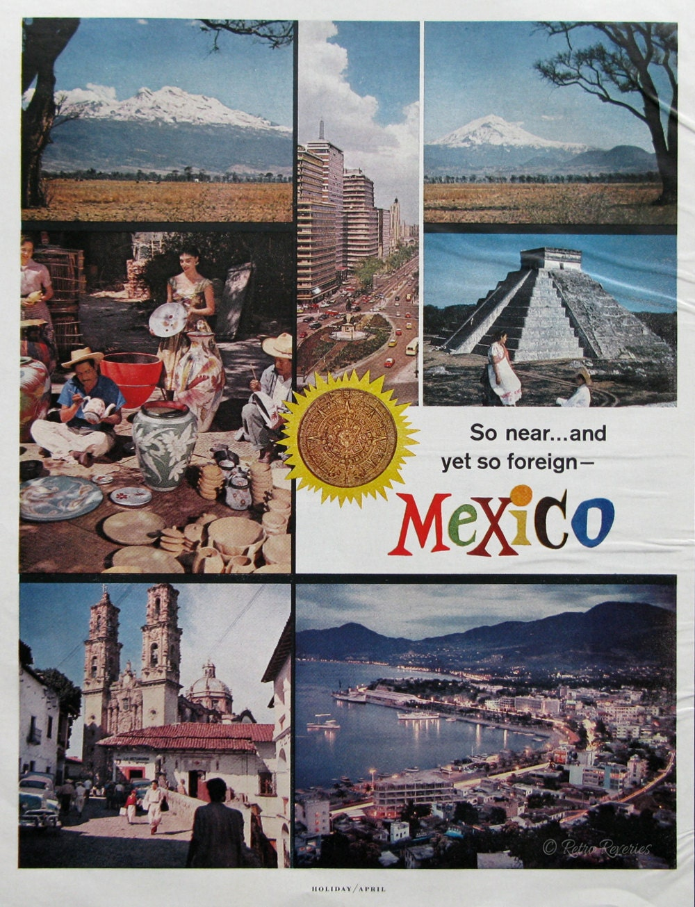 1963 Mexico Travel Ad Aztec Temple Mexico City Painting