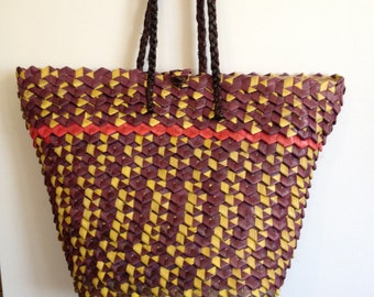African Hand Woven Beach Bag/Basket Tote - Mauve/Yellow