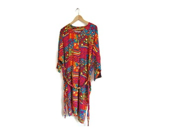 Plus Size Southwest Boho Women's Clothing Vintage s Rayon Dress Plus