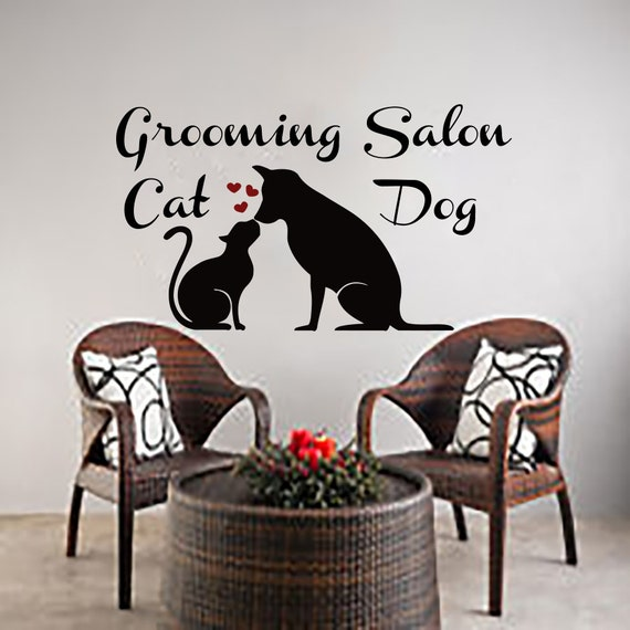 Wall Decals Dog Cat Grooming Salon Decal Vinyl By Cozydecal