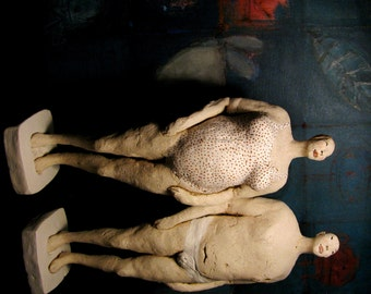 Swimmers, Couple/ Unique Ceramic Standing Sculptures/ Woman and Man