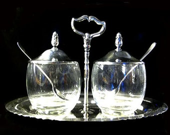 Onieda Silversmiths Silver Tray and Condiment Jars