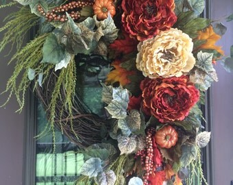 Fall Wreath, Autumn Wreath, Peony Wreath, Front Door Wreath, Grapevine Wreath, Elegant Wreath