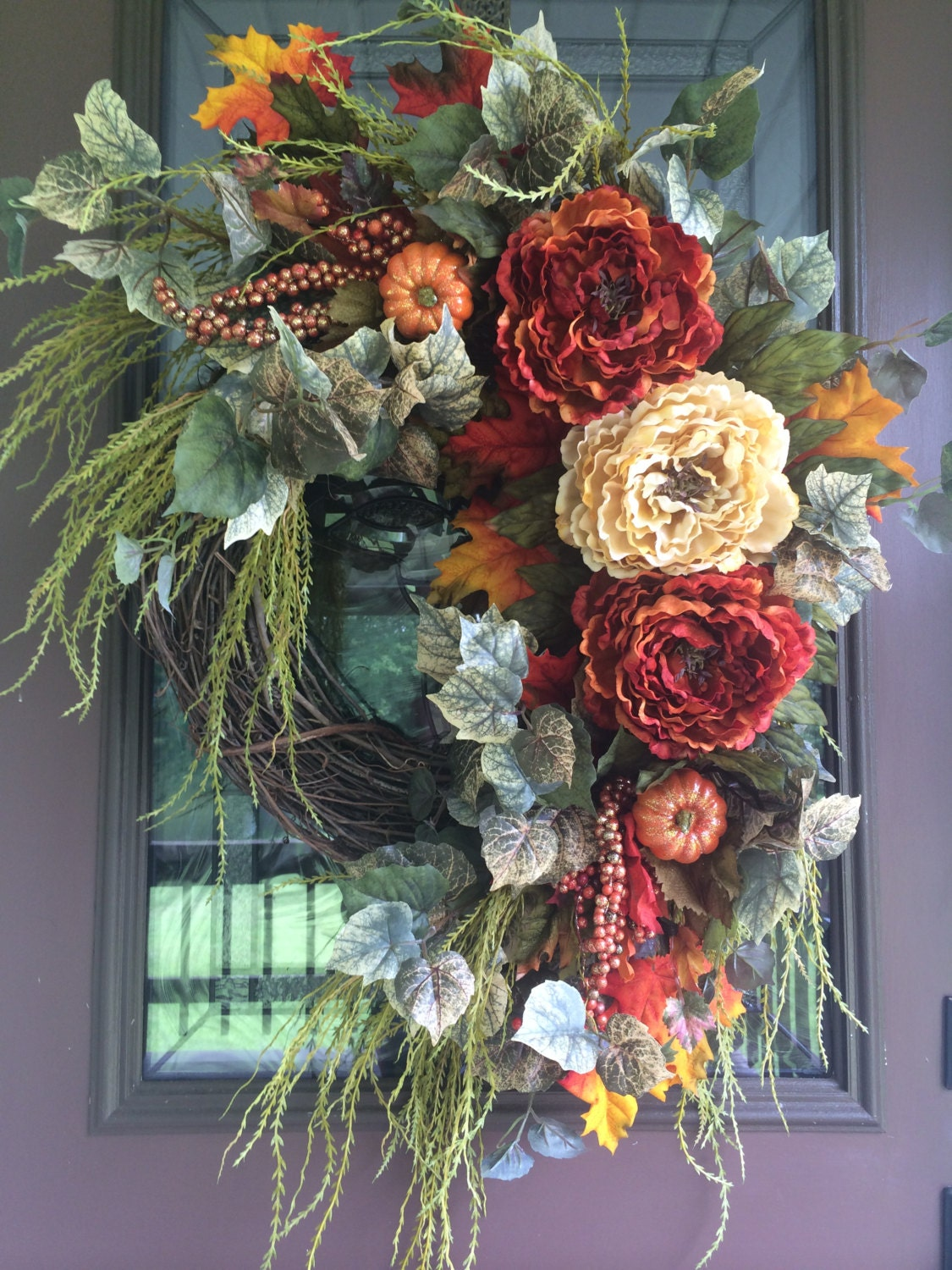 Fall wreath autumn wreath peony wreath front door wreath Fall autumn door wreaths