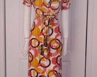 Yellow Print Summer Dress Women wrap Dress Unique Handmade Puff Short Sleeve Dress Jersey Wrap Dress OOAK Summer Wrap Dress Ready to ship