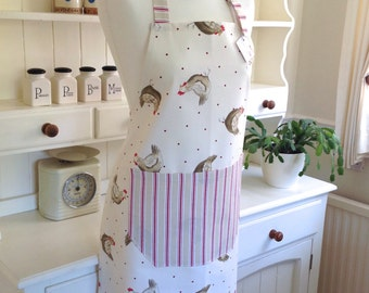 Apron, Henrietta Apron, Ladies' Full Apron, Adjustable Apron, Hens & Stripes Apron, Womens Apron, Chickens, Hens, Gift for Her, Baking Gift