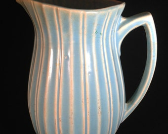 McCoy 8 1/2 Inch Tall Turquoise Blue Pottery Pitcher