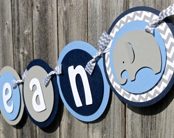 Elephant Baby Shower Banner in Navy, Light Blue & Gray Chevron, IT'S A BOY Banner or NAME Banner for Baby Shower or Birthday