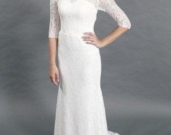 Simple Scoop Neckline, Sheath Silhouettes, Half Sleeves Lace Wedding dress
