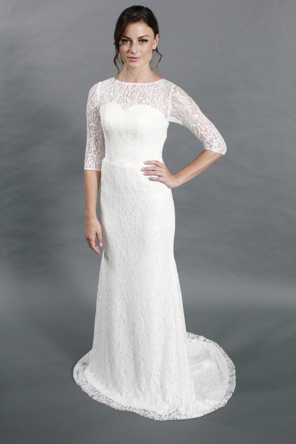 Simple scoop neckline sheath silhouettes half sleeves lace for How to clean your own wedding dress