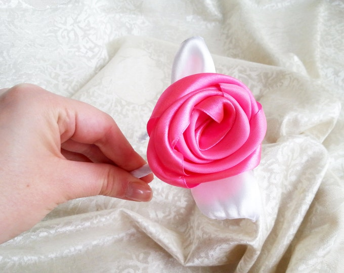 Hot pink and white headband with handmade satin flower flower girl bridesmaid hair accessories