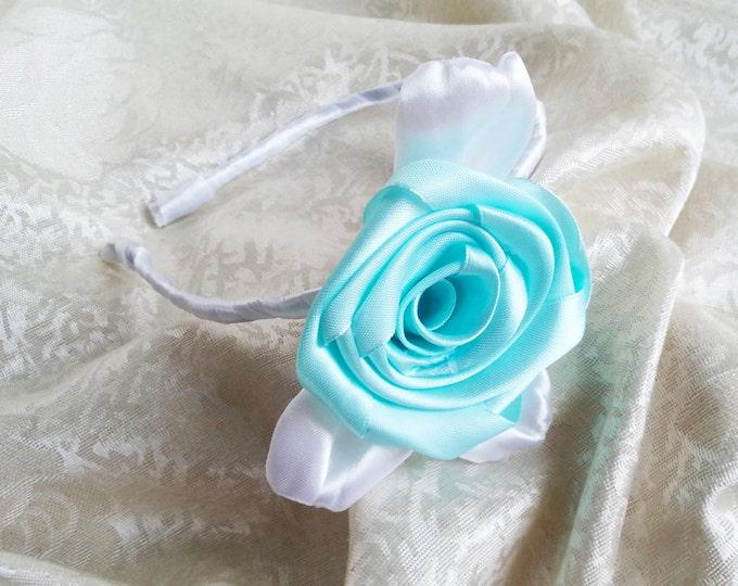 Mint green and white headband with handmade satin flower flower girl bridesmaid hair accessories