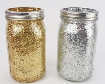 Gold and Silver Glitter Wide Quart Mason Jars - Wedding, Bridal Shower, Glitter Decor