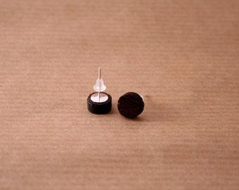 Tiny wenge veneered plywood round stud earrings
