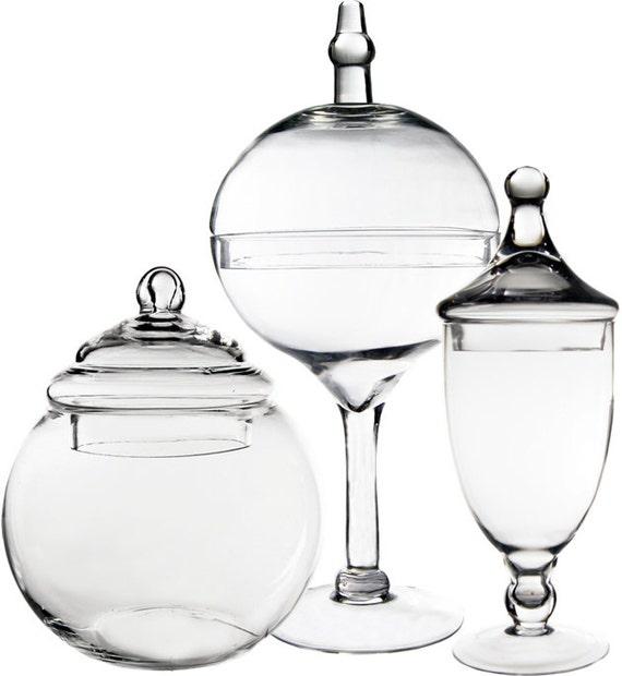 apothecary jar glass candy buffet jar with lid set of 3 pcs gaj003 112 136 20. Black Bedroom Furniture Sets. Home Design Ideas