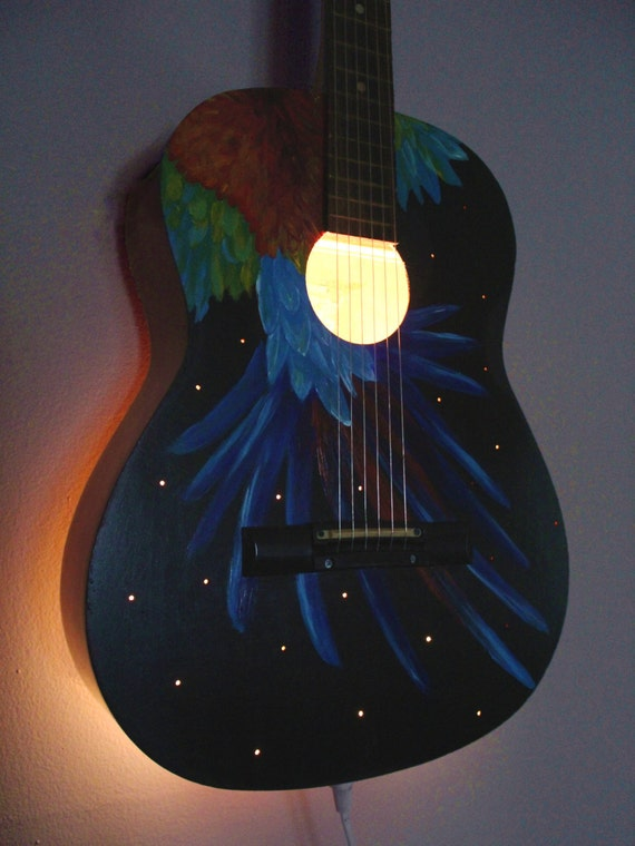 Upcycled acoustic guitar light musical instrument lamp for Acoustic guitar decoration
