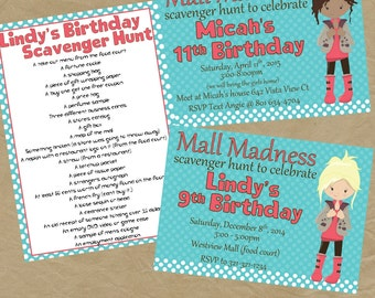 Mall Scavenger Hunt Birthday Party Invitation Invite