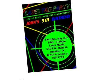 LASER TAG Birthday Party Invitation Invite - Arcade - Digital or Printed