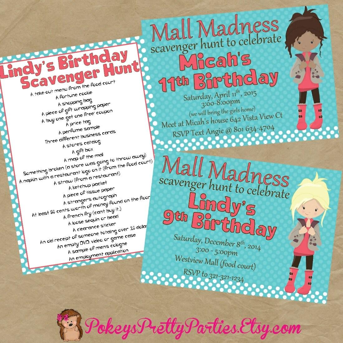 Mall Scavenger Hunt Birthday Party Invitation Invite