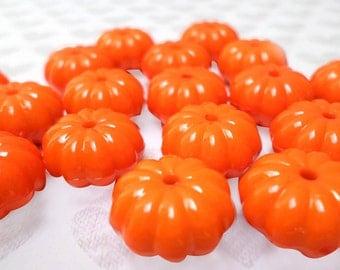 15mm Kawaii Pumpkin Fall Halloween Beads, 6pc set
