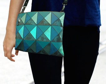 Turquoise Crossbody Bag, Leather crossbody bag, Geometric leather Bag, turquoise Bag, crossbody purse, Crossbody Bag, Multi turquoise bag