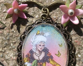 "Jewelry designer baroque pin fairy garden of the French ""Marie Antoinette playing at farm in the Petit Trianon at Versailles"""