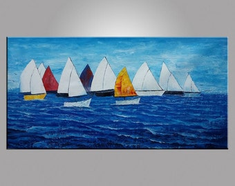 """Landscape Painting, Canvas Art, 24X48"""" Oil Painting, Framed Art, Abstract Art, Canvas Painting, Sail Boat Painting, Seascape Painting"""