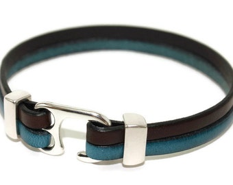 Men's leather bracelet hook leather bracelet flat leather bracelet teal brown bracelet men bracelet mens jewelry mens gift FLB5-17-0210