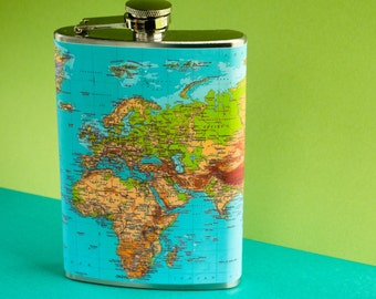 World Map Flask Stainless Steel Flask Hip Flask Pocket Flask