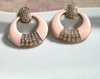 Vintage Metal and Rhinestone Earrings with Post Backs