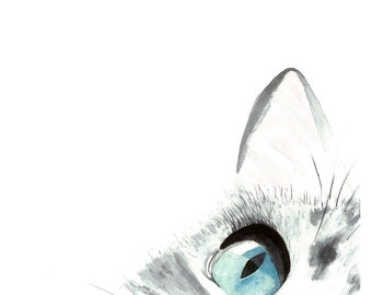 A Cats Focus Original Watercolor Painting Art Print, Cat Art, Home Decor, Wall Art, Nursery Wall Art, Animal Art, Cat lover Gift