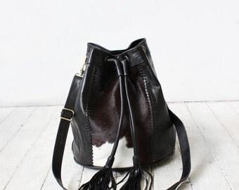 black bucket bag | cowhide bag | leather purse | bucket bag
