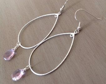 Amethyst Sterling Silver Large Hoop Earrings